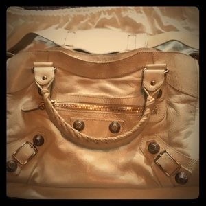 Balenciaga Paris rose gold hardware cream bag